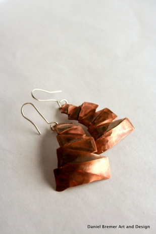 Tree earrings; copper