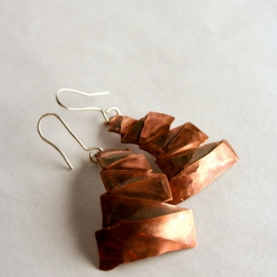 Tree earrings; copper