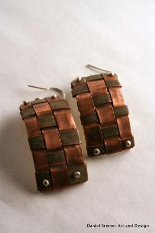 Copper weave earrings; copper, brass, sterling silver