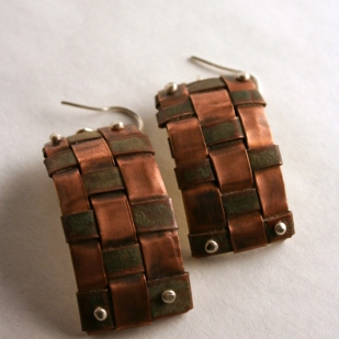 Copper weave earrings; copper, brass, sterling silver