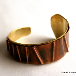 Copper fold cuff; copper, brass, sterling silver