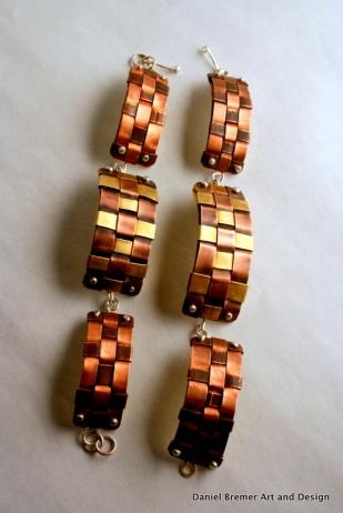 Copper weave bracelets; copper, brass, sterling silver