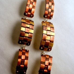 Copper weave bracelets; copper, brass, sterling silver