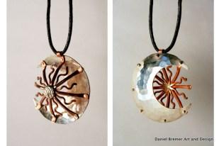 Sun moon pendant; sterling silver, copper