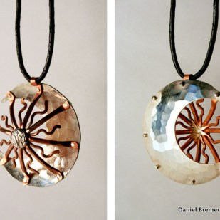 Sun moon pendant; sterling silver, copper
