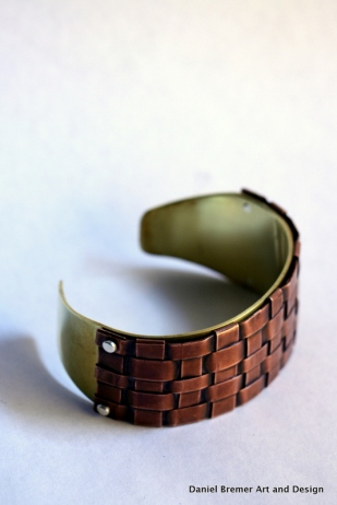 Copper weave cuff bracelet; copper, brass