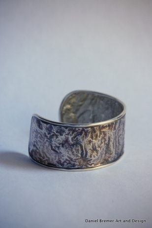 Reticulated silver cuff; sterling silver