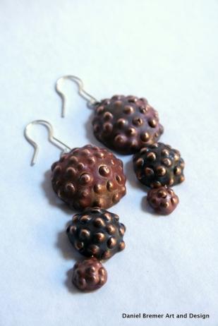 Triple seedpod earrings red; copper, sterling silver