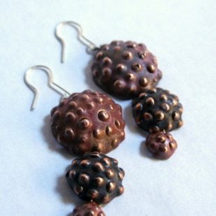 Triple seedpod earrings red; copper, sterling silver