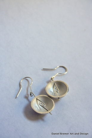 Dome earrings; sterling silver