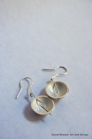 Dome earrings; sterling silver