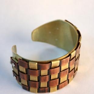 Copper weave cuff; copper, brass, sterling silver