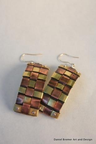 Weave earrings; copper, brass