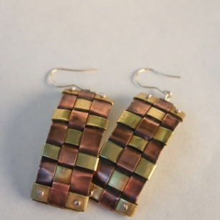 Weave earrings; copper, brass