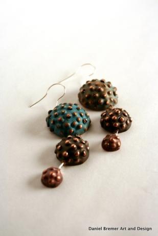 Triple seedpod earrings; copper, sterling silver