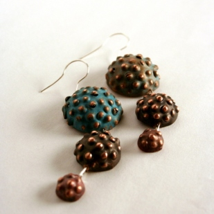Triple seedpod earrings; copper, sterling silver