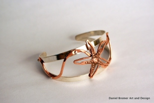 Starfish cuff; sterling silver, copper