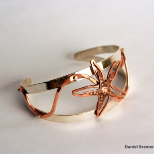 Starfish cuff; sterling silver, copper