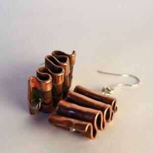 Ripple Effect earrings; sterling silver, copper