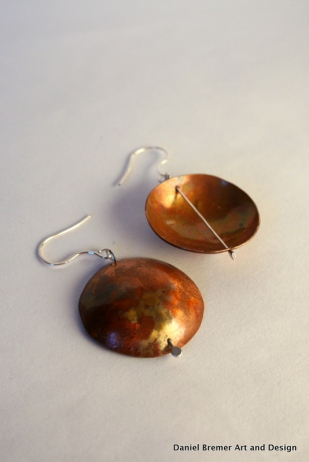 Copper Patina earrings; sterling silver, copper