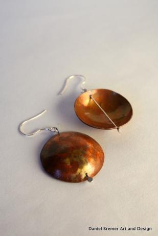 Copper Patina earrings; sterling silver, copper