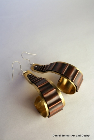Copper Ridges earrings; copper, brass