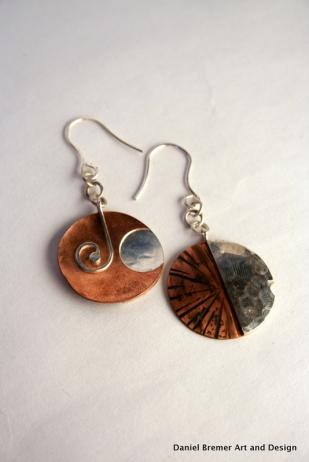 Sun Moon earrings, sterling silver, copper