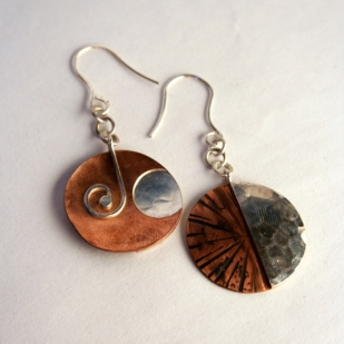 Sun Moon earrings, sterling silver, copper