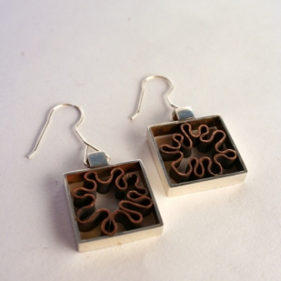 Curves in Squares earrings; sterling silver, copper