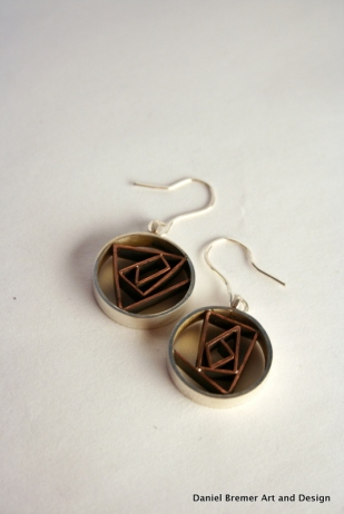 Corners in Circles earrings; sterling silver, copper