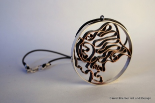 Twisted Cameo; sterling silver, copper