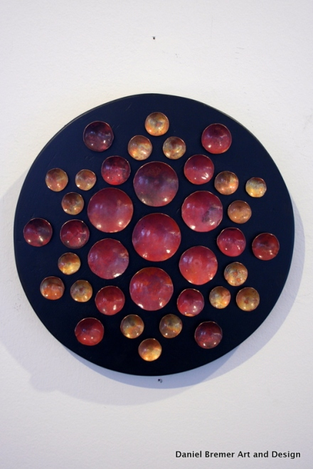 Mandala; copper on painted wood