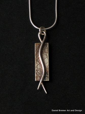 Lines pendant; sterling silver