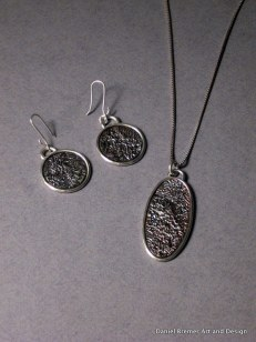 Reticulation earrings and pendant; sterling silver