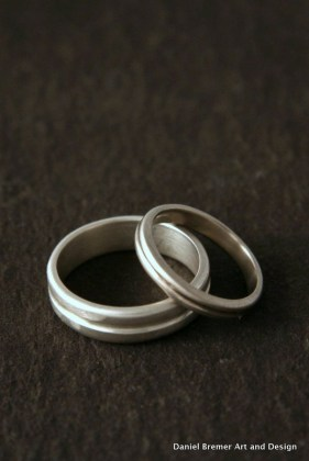 Wedding Rings; Sterling silver, White gold