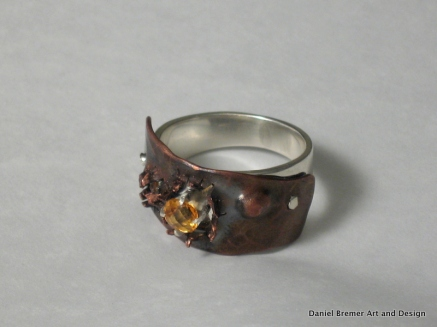 Breakthrough ring: sterling silver, copper, citrine