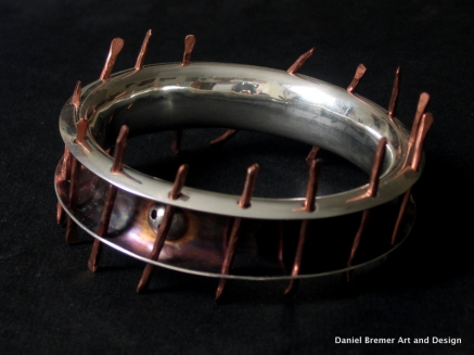 Caged bangle; sterling silver, copper