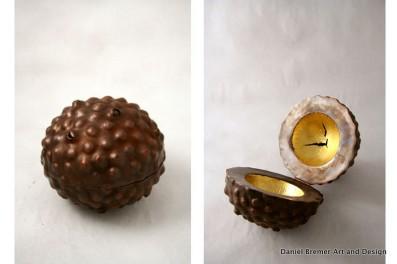 Seedpod; copper, gold leaf