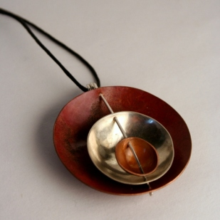 Triple Bowl pendant; copper, sterling silver