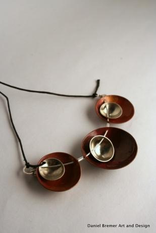 Triplet pendant; copper, sterling silver