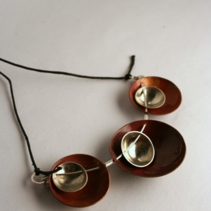 Triplet pendant; copper, sterling silver