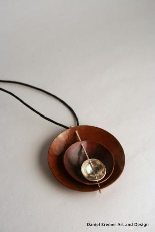 Triple Bowl pendant; copper, sterling silver