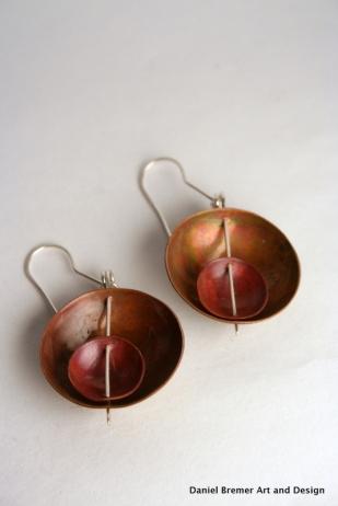 Double bowl earrings; copper, sterling silver