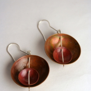 Double bowl earrings; copper, sterling silver