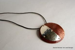 Sun moon pendant; copper, sterling silver
