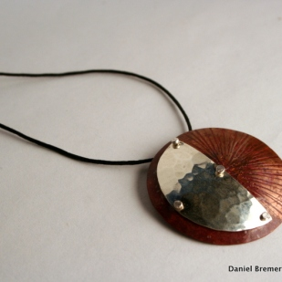 Sun moon pendant; copper, sterling silver