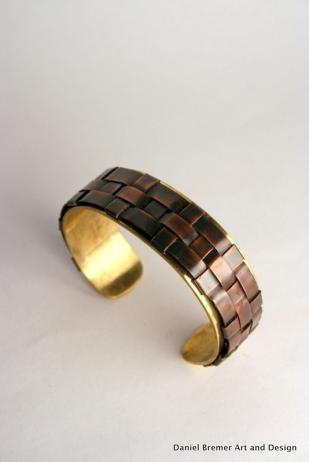 Thin weave cuff, copper, brass, sterling silver