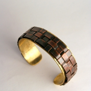 Thin weave cuff, copper, brass, sterling silver