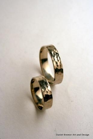 Ripple texture wedding bands; 14k white gold