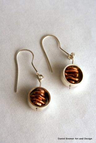 Copper stack earrings; copper, sterling silver